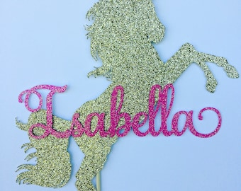Unicorn cake topper, custom unicorn party centerpiece with name, personalized cake topper, glitter  topper