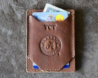 The Officially Licensed Crimson Tide Trey Money Clip Front Pocket Fine Leather Wallet