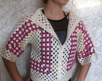 Hand Knitted Cardigan, Women's Knitted Cardigan,Knit women's sweater, Handmade Cardigan, Pink,White,Wool,SHIPPING FREE