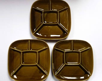 Polish Design 'Tulowice' Cabaret Set of Ceramics Serving Plates Appetizers Vintage Pottery 1970's