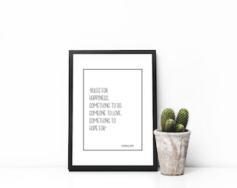"""Rules for happiness"""" quote by Immanuel Kant, digital download, poster,  gift, home decor, sale"""
