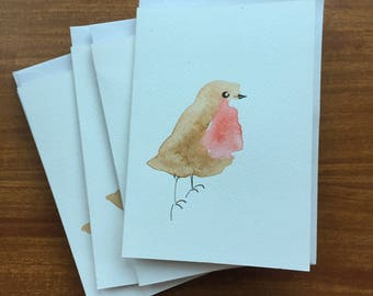 Robin Watercolour Christmas Cards