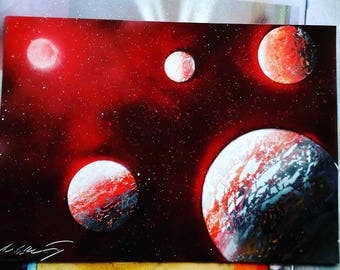Red spray paint star with planets - space art - painting - galaxy - personalised gift - Christmas and birthday gift ideas