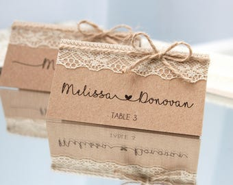 rustic place cards, rustic wedding place cards, country wedding place cards, rustic place cards with lace, name cards for rustic wedding