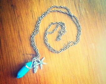 Blue Turquoise Crystal Rose Gold  Finished Necklace