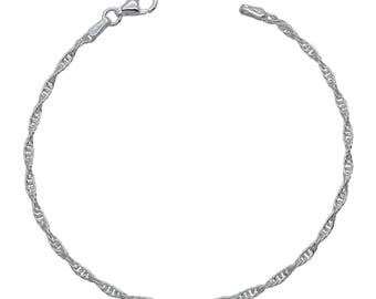 "Sterling Silver Loose Rope Prince of Wales Bracelet 2mm 6.5"" 7"" 7.5"" inches"