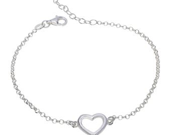 "Sterling Silver Love Heart Bracelet 7"" to 8"" inches extendable"