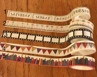 "24"" Days of the Week Washi Tape Sample; Ruler; Film Strip; Colorful Flag Banner; Colorful Bookshelf; Washi Tape"