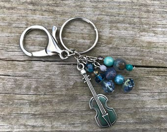Violin Bag Charm, Keychains for Women, Violin Gifts, Purse Charm for Handbags, Handbag Charm, Beaded Keychain, Gift for Girls, Gifts for Her