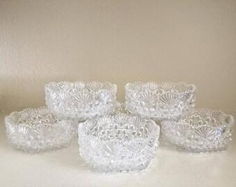 Set of 6 Vintage Hoya Crystal Glass Bowls - Vintage Crystal Bowls - Hollywood Regency - Crystal Bowls - Boho Wedding Decor - Serving Bowls