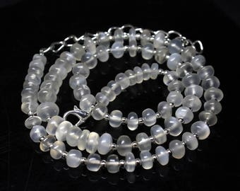 "Natural Moonstone Round Beads Strand Necklace. 98 Carats, 16.5"" Inches Strand, Size- 5 to 7 MM Approx Code-HN29"