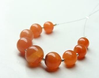 Natural Carnelian Round Balls 9 PCs Size- 8 mm To 12 mm Jewelry Making Gemstone
