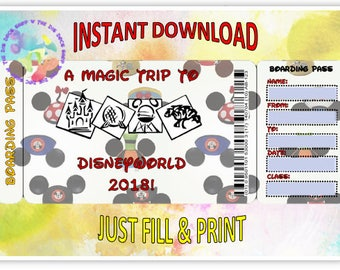 Printable WDW Personalized Boarding Pass (Instant Download)