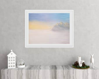 16x20 Cloudy Mountain Landscape - Original Acrylic on Canvas