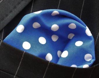 Hankie Pocket Square Handkerchief BLUE Polka DOT - Premium Cotton - UK Made