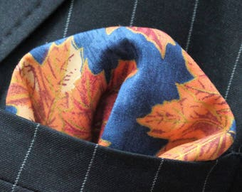 Hankie Pocket Square Handkerchief AUTUMN LEAVES 1 - Premium Cotton - UK Made