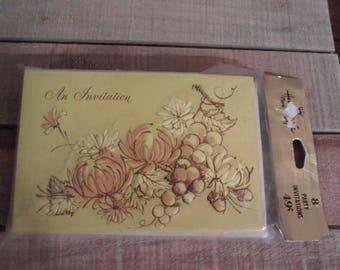 Vintage Fall Invitations Acorns Chrysanthemums 8 Hallmark invitations nos Beautiful fall colors
