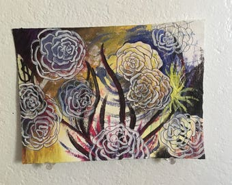 SKYBLOOM mixed media flower painting art piece