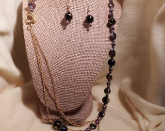 Freshwater pearl and glass beaded necklace