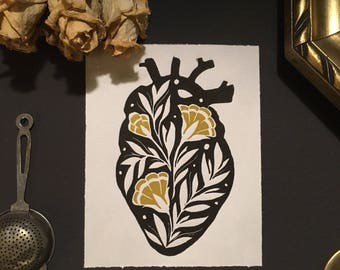 Flower Heart//gifts for her//gifts for him//Kunstdruck//Graphic//Linocut