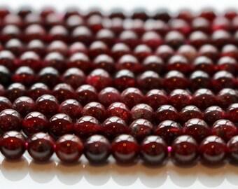 4mm Garnet, full strand, natural stone beads, round, 40030