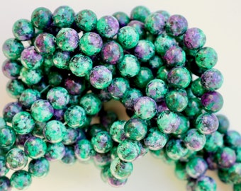 8mm Ruby in Zoisite beads, full strand, natural stone beads, round. 80040