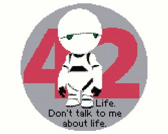 Hitchhikers Guide Marvin Paranoid Android 42 Cross Stitch Pattern