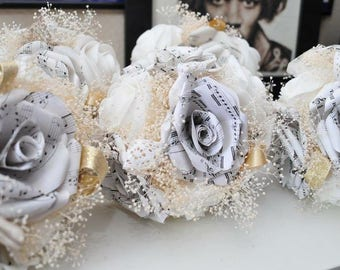 Bridesmaid Bouquet made from Music Sheet Paper Roses, Wedding Party, Personalised, Everlasting Wedding Flowers