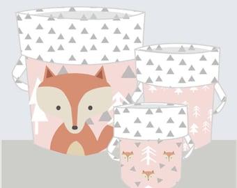 Nursery Décor-Storage Basket-Pink Girl Nursery-Woodland Nursery-Fabric Storage Bin-Baby Laundry Basket-Baby Shower-Fox Nursery Basket