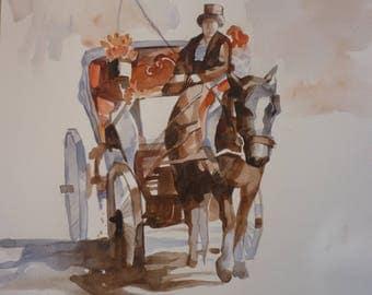 Horse - Watercolor 50x35 sm.