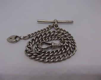 Antique Sterling Silver Albert Watch Chain - Birmingham 1913