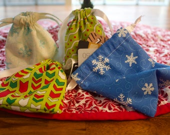 Reusable Gift Bags, Drawstring Christmas Gift Bags, Small Item Gift Bags, Fabric Drawstring Gift Bags