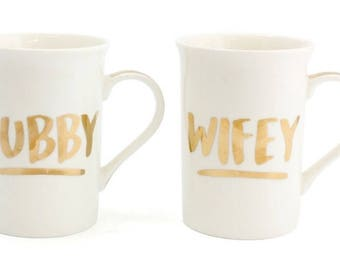 Hubby and Wifey Gold Lettering Couple Mugs Set of Two Gifts
