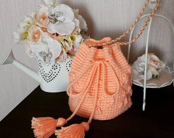 Knitted bag pink/backpack/knitted bag/crochet bag/knit bag/handmade bag/bag/hand knitted bag/handmade/knitted handbag/hand knit bag