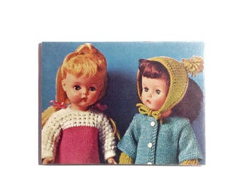 Large OOAK Retro Magnet - Pensive Vintage Dolls in Winter Knitting - Vintage Dolls Magnet Knitter Gift Kitsch Gift for Her 1960s - No US-14