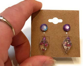 Dried Flower with Key Resin Earring Gift Set