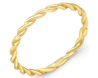 Stackable, 14k Yellow Gold, Twist Band