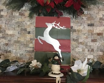 Christmas reindeer metal silhouette wall decor