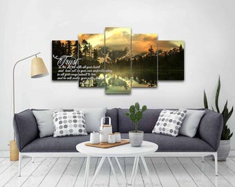 Proverbs 3:5-6 #32 NIV Trust in the Lord Bible Verse Canvas | Christian Canvas | Scripture | Religious | Wall Art | Home Decor Paintings