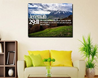 Jeremiah 29:11 #5 NIV 'For I Know the Plans I have for you' Christian Scripture Bible Verse Wall Art Canvas | Religious | Home Decor