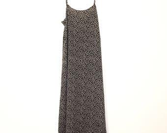 Vintage 1990's Long Black & White Floral Print Maxi Dress with Spaghetti Straps