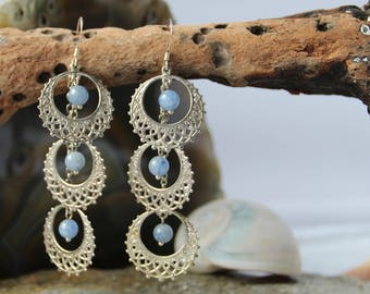 Silver and Blue Stone Dangle Earrings Gifts for her/Bride/Birthday/Christmas/Engagement/Anniversary