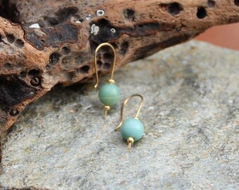 Gold Wire and Jade Threader Earrings Gifts for her/Birthday/Bridal/Anniversary/Engagement/Christmas