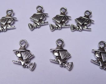 Set of 3 small silver metal witch charms