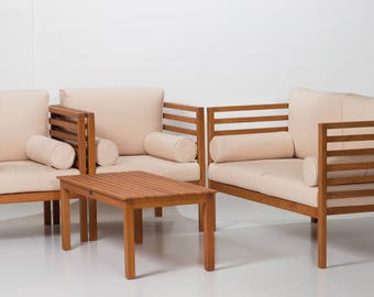 Glenwood Canyon Collection   DTY Outdoor Living 4 Piece Eucalyptus Patio  Furniture Set With Beige