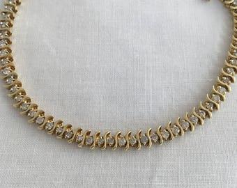 "14K Gold 61 Diamonds 1.2cts Tennis Bracelet Genuine Diamonds 7.5"" length Beautiful Patina 10.5 Grams"
