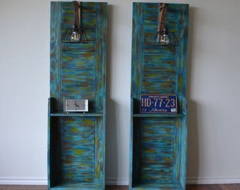 5 ft tall solid wood, rustic, industrial night stands with lamps