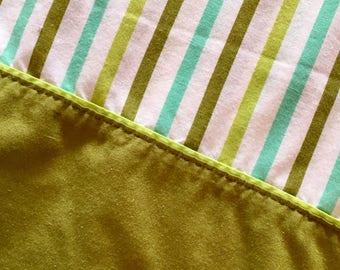 Vintage retro turquoise, lime, green stripe pillowcase pillow slip