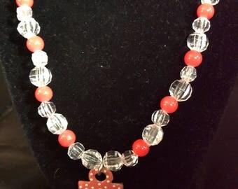 Orange anchor charm necklace