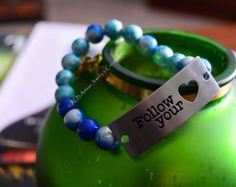 Blue & White Luster Beaded Bracelet